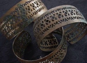 Old Filigree Brass Gallery Wire Cuff Bracelets Naturally Occuring Patina