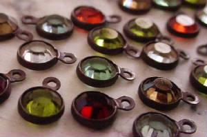 Vintage 4mm Swarovski Crystal Assortment With Hand Oxidized Brass Settings