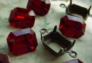Old 10x8 Ruby Swarovski Crystal Rhinestones With Hand Oxidized Connector Settings