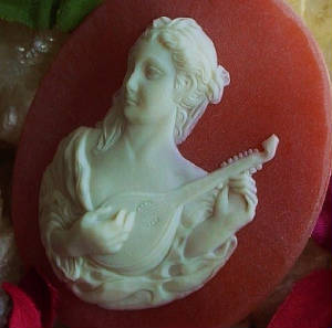 Vintage Large Molded Resin Cameos