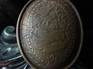Antique Brass Cabochon Naturally Occuring Patina
