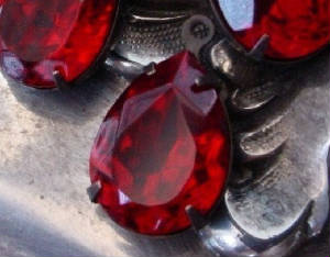 Vintage Siam Ruby Swarovski Crystal 18x13 Pears With Hand Oxidized Settings